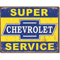 Super Chevy Service – Large Metal Tin Sign 31.7cm X 40.6cm Genuine American Made