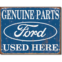 "Ford Parts ""Used Here"" – Large Metal Tin Sign 31.7cm X 40.6cm Genuine American Made"